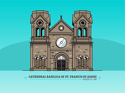 Cathedral Basilica of Francis of Assisi — Santa Fe, NM zia landmark building line art illustration new mexico cathedral santa fe