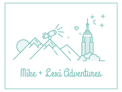 Mike and Lexi's Wedding love illustrations mountains new york city wedding