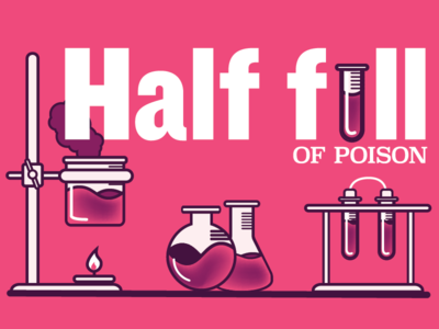 Half full pessimism optimist type illustration poison chemistry