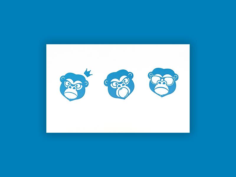 Screen Printed Monkeys card illustration monkey screen print