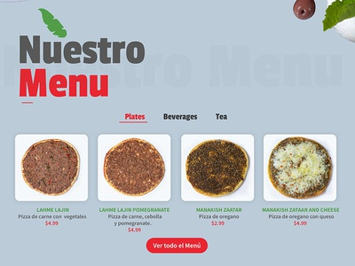 Menu Restaurant Website
