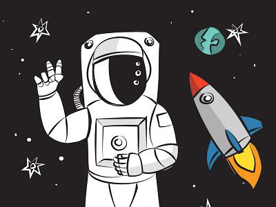 Astronaut astronaut moon rocket illustration