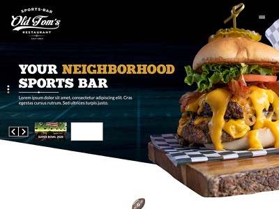 Sport Bar Wordpress site web design website sport bar hero image food restaurant hamburger slider wordpress theme wordpress