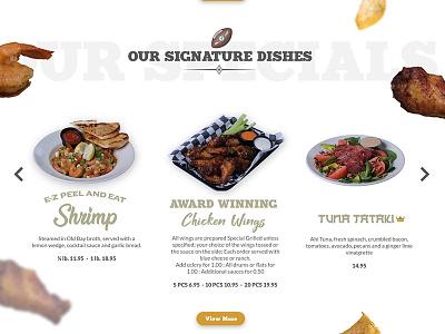 Sport Bar Restaurant menu chicken restaurant food web design football products carousel website wordpress