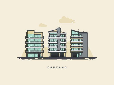 Cadzand Apartments pixel perfect filled outline vector illustration