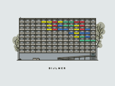 Bijlmer Building pixel perfect flat apartment building bijlmer filled outline vector illustration