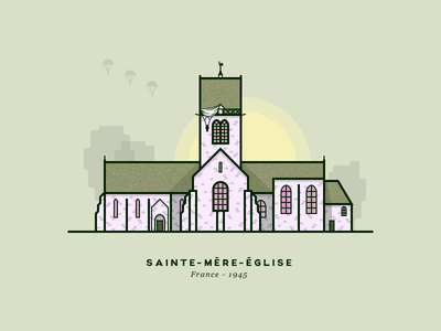 Lonely Landing vector perfect pixel outline illustration flat filled parachute church building war france