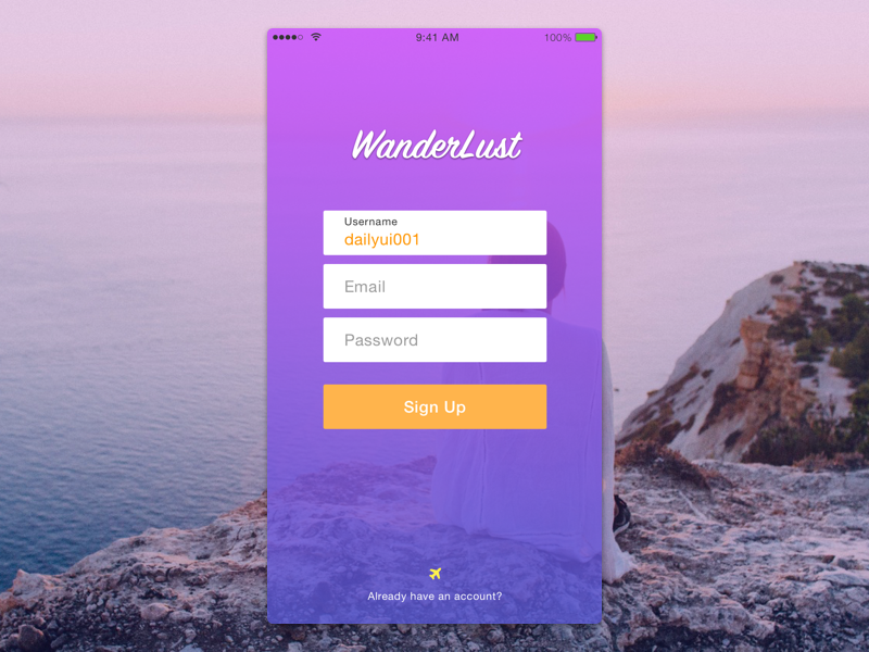 Daily UI 001 Sign Up signup mobile travel wanderlust dailyui001 dailyui