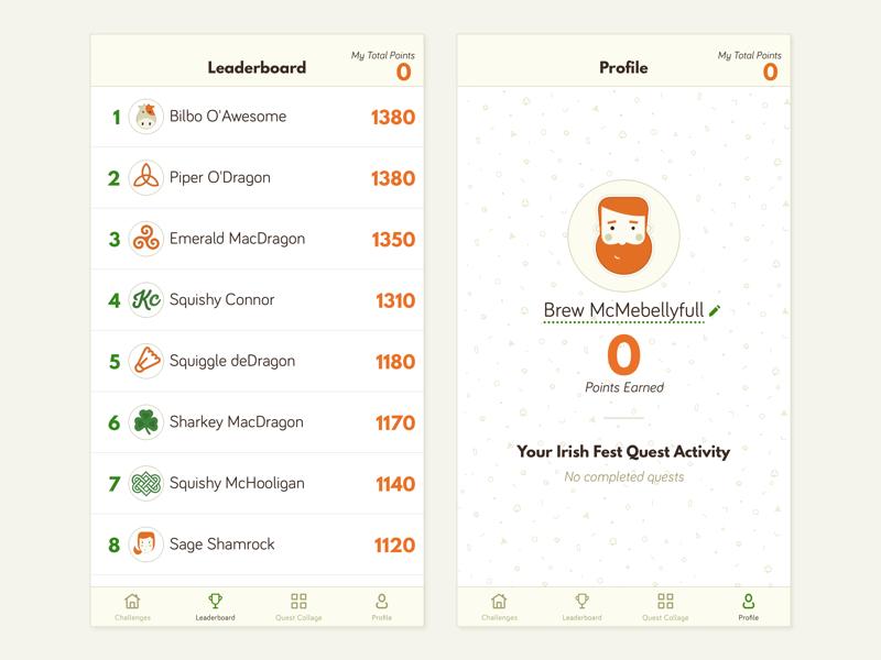 Irish Festival App Leaderboard + Profile list ui navigation game play profile design profile avatar leaderboard design leaderboard childrens game pattern game ui clean ui