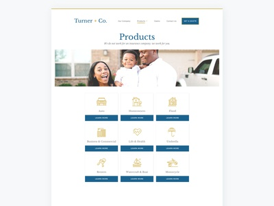 Insurance Website - Products