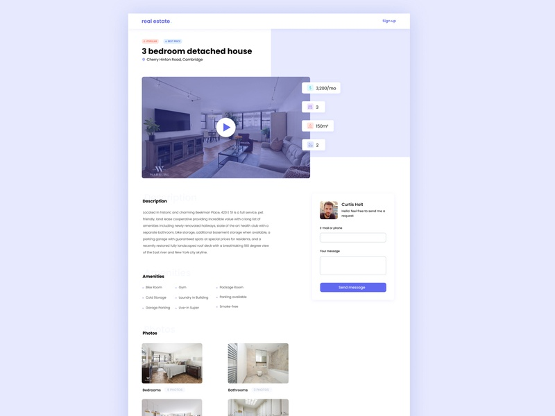 🏠Real Estate photo video layout new trend 2020 house apartment booking website minimal flat web app ux ui design