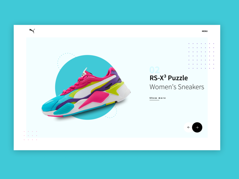 👟Puma RS Collection Concept app ux ui monochrome art concept design concept trend minimal photo new desktop web sneakers shoes puma carrousel slider 2020