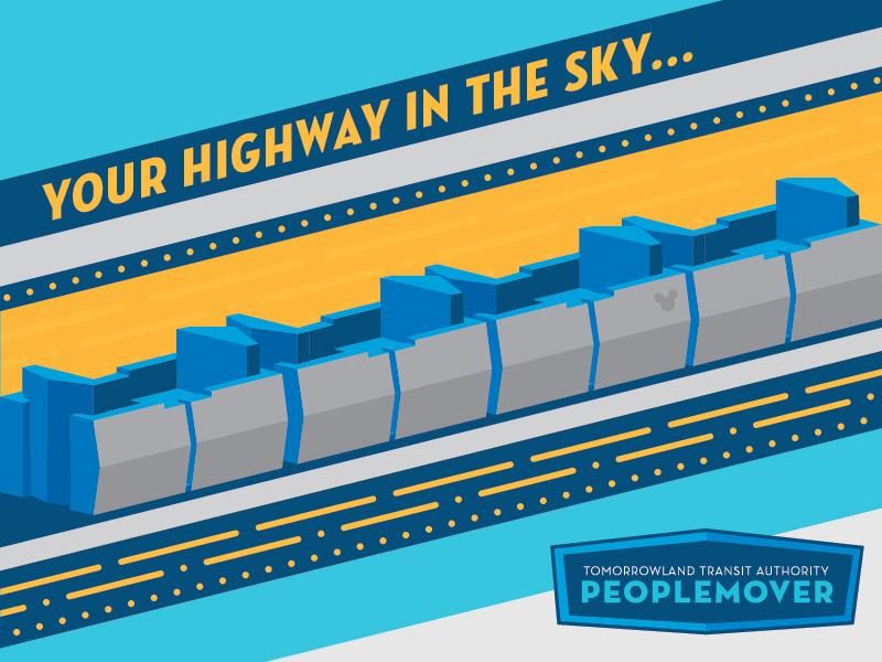 Tomorrowland Transit Authority PeopleMover blue illustration transportation walt disney disneyworld disney