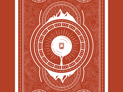 Cast Iron Card Back fire shield diamond mountains skillet tarot back card iron cast