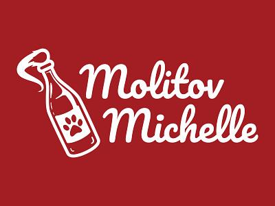 Molitov Michelle Logo paw cat red logo 3d bottle logo molotov