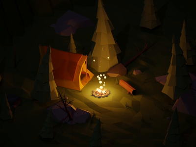 Campfire bumper render video animation motion nature tree tent fire camp yule log yule