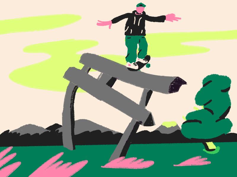 Untitled Artwork 32 experimentation texture green grind pink mountain sky field japan landscape skate illustration