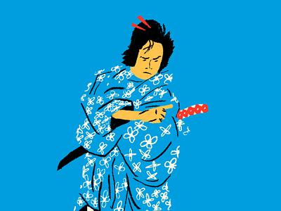 swordsman study gouache japan hiroshige person character drawing study illustration