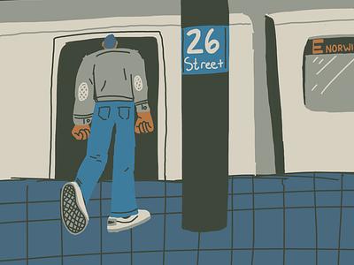 Night Riding study character limited palette dark mood metro subway illustration