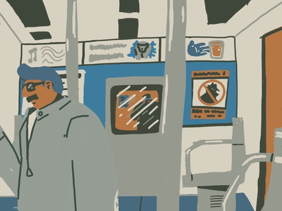 Night Riding 2 mystery mood character underground metro subway illustration