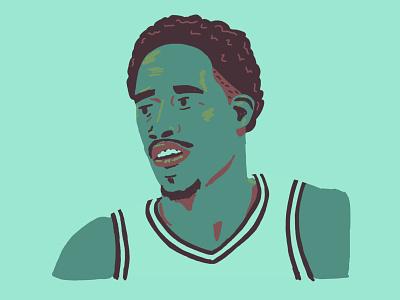 Demar Derozan derozan spurs drawing portrait basketball illustration