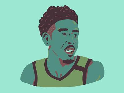 Malcolm Brogdon drawing portrait basketball illustration
