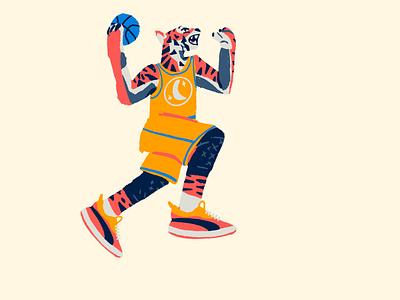 Zoo Hoops: Tiger dunk puma tiger character design drawing hoops basketball illustration