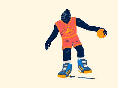 Zoo Hoops: Gorilla postup adidas bananas silverback ape gorilla drawing design hoops basketball illustration