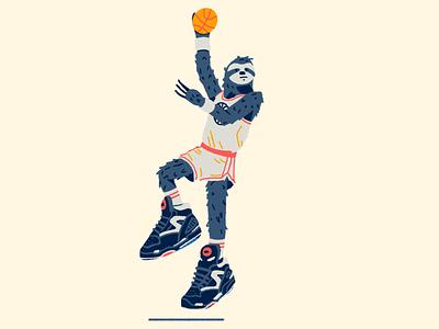 Zoo Hoops: Sloth sloth skyhook old school pumps reebok drawing design hoops basketball illustration