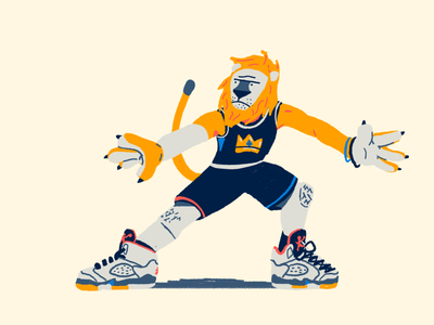 Zoo Hoops: Lion beard defense sneakers jordans animals lion drawing hoops basketball illustration