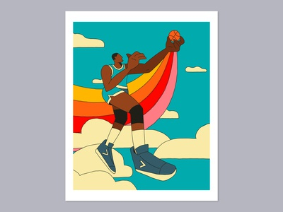 High Society Print old school drawing design art game ball fly clouds sky print retro hoops basketball illustration