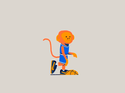 Chimp Jog Cycle jungle playbook animals point guard run cycle walkcycle cel animation animation drawing hoops basketball illustration