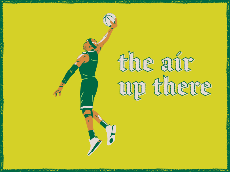 It's different up there dunk basketball crayon chalk illustration