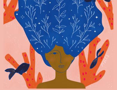 Pisces Woman procreateapp pisces woman vector illustration