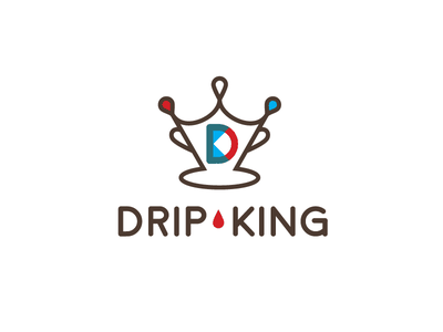 Drip King Coffee Logo icon line drip coffee logo coffee shop coffee