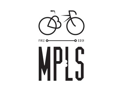 Minneapolis Bicycle Romance Badge minnesota t-shirt design graphic mono black and white typography icon line badge bicycle biking minneapolis