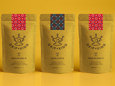 Drip King Coffee Packaging king sans serif iconography packaging coffee shop coffee