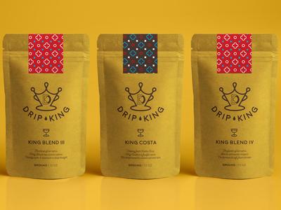 Drip King Coffee Packaging king sans serif iconography packaging coffee shop coffee