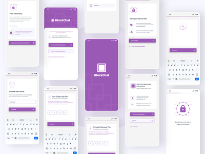 Blockchat - A Blockstack Based Secured Messaging App 2021 inspiration micro animation android trend dribbble ios messaging app secure app blockstack user experience productdesign uiuxdesign blockchain
