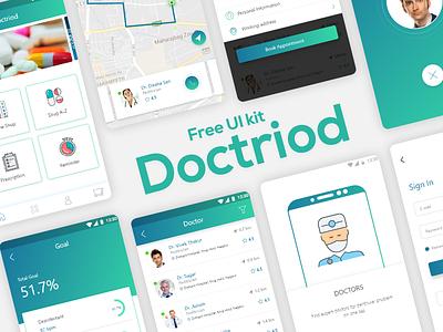 Doctriod Health Care App UI Kit For Free. design anriod freeuikit ux ui ios app doctiod health