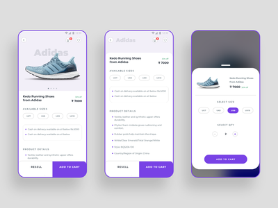 Product Details & Add to cart Screen minimal app product detail page ecomerce product page user android inspiration dribbble trend ios app ui design ux