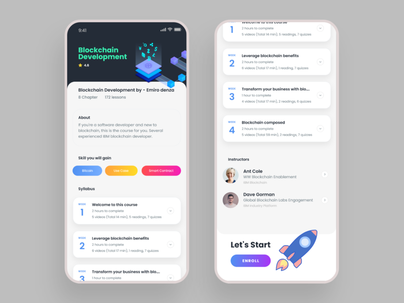 Online Study App-Course Detail Screen online courses study online learning micro interactions micro animation inspiration android dribbble trend web ios app ui design ux