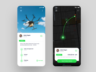 Drone Delivery App UI tracking app drones live shipping deliveries ecommerce app inspiration android dribbble trend web ios app ui design ux