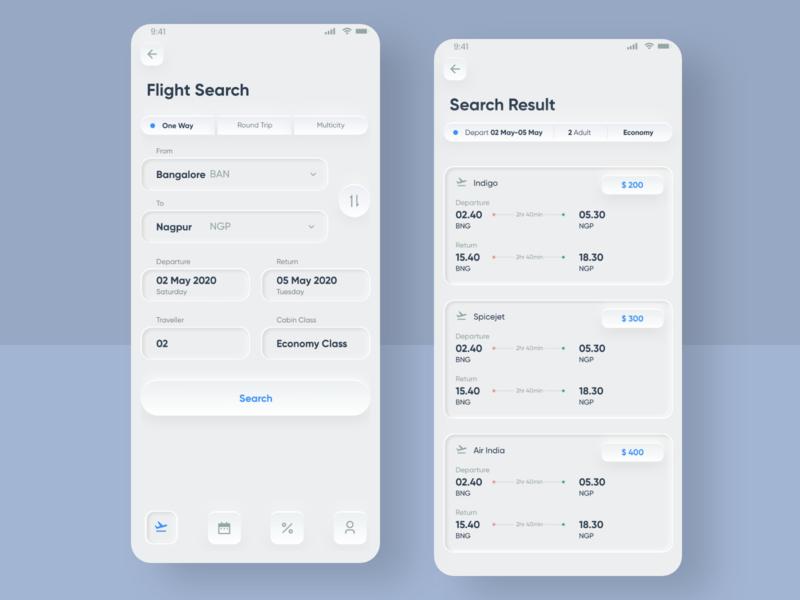 Flight search Skeuomorphic Design UI designs design trends 2020 android inspiration web dribbble trend ios app ui design ux skeuomorphic