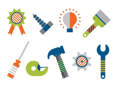 Icon Set work tape flat fun stripes idea award build brush set tools icons