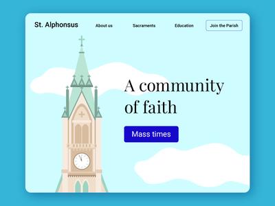 Daily UI #003 nav community illustration faith landing page website church ui design dailyui