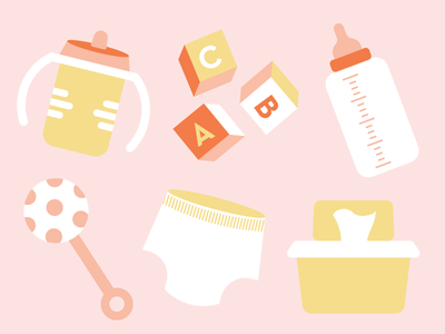 Baby-themed icons icon illustration welcome newborn toys wipes diaper rattle bottle sippy blocks baby
