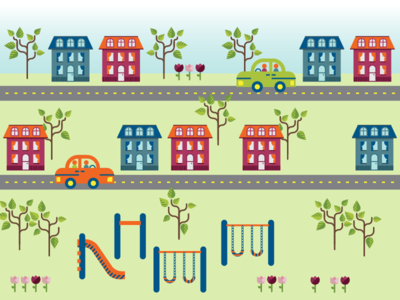 Illustration for Discover's 2017 corporate responsibility report home housing playground park illustration streets village fun financial discover cars community