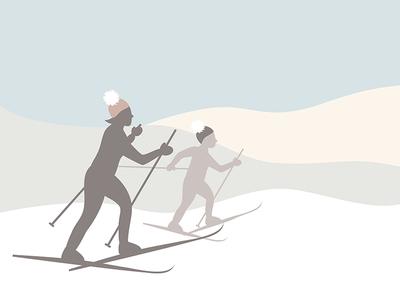 Skiers Illustration for Smoke & Slate vector outdoors hats knitwear winter sports winter snow ski drawing brand identity fun branding illustration