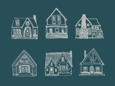Cottages illustration home design fun cute cottage houses hand drawn drawing illustration